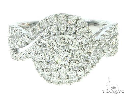 14K White Gold Diamond Round Cluster Halo Engagement Ring 65734 Engagement