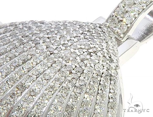 14K White Gold Diamond Special Custom Seashell Engraved Locket Pendant 65317 Stone