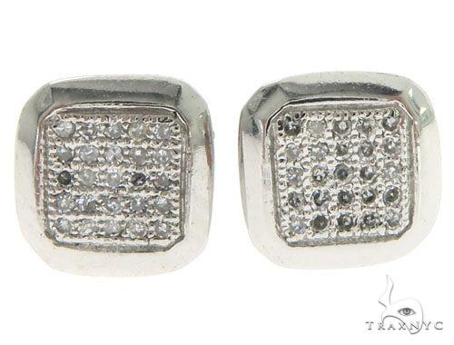 10K White Gold Diamonds Square Earrings 61449 Stone