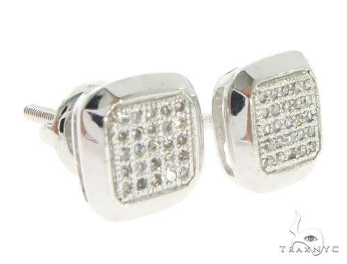 10K White Gold Diamonds Square Earrings 61449 Stone
