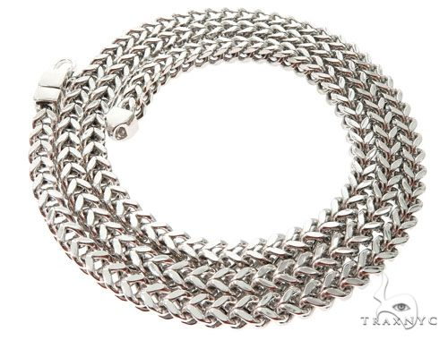10K White Gold Hollow Franco Link Chain 30 Inches 6.5mm 89 Grams 64165 Gold