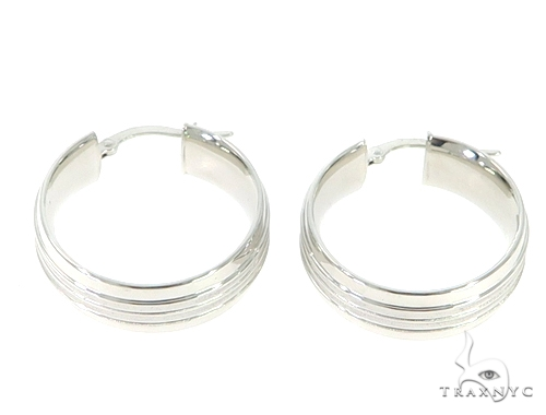 14K White Gold Hoop Earrings 56807 Metal