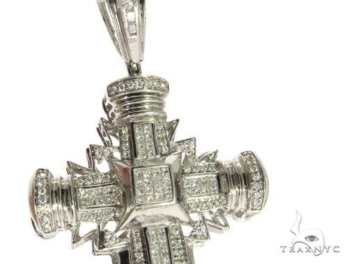 14K White Gold Invisible Channel Prong Diamond Cross Crucifix 63172 Diamond