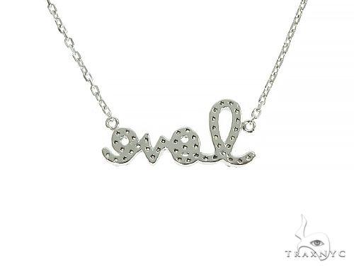14K White Gold LOVE Diamond Necklace 66129 Diamond