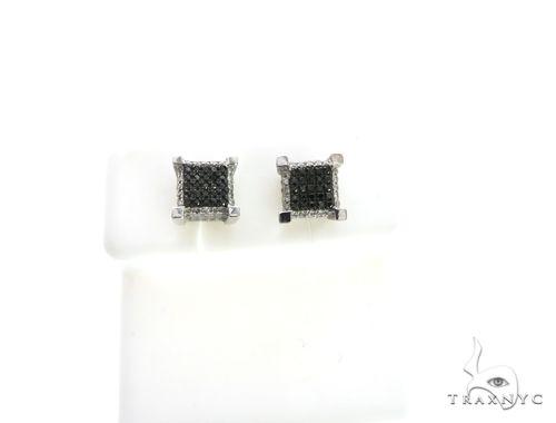 14K White Gold Micro Pave Black & White Diamond Earrings. 63336 Stone