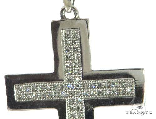 14K White Gold Micro Pave Diamond Cross Crucifix Pendant 62618 Diamond