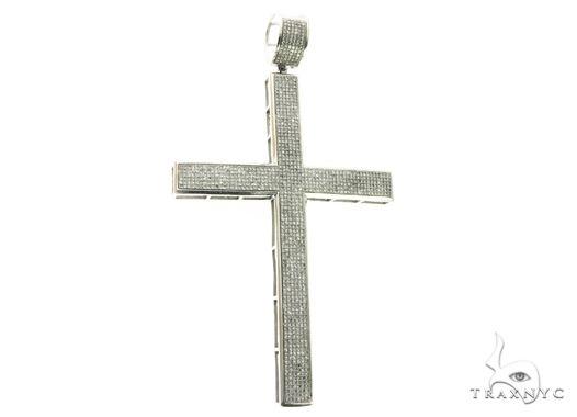14K White Gold Micro Pave Diamond Cross Crucifix Pendant 63851 Metal