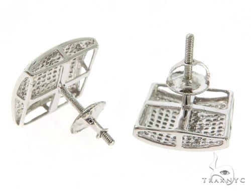 14K White Gold Micro Pave Diamond Earrings 57665 Stone