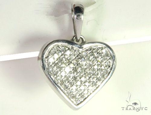 14K White Gold Micro Pave Diamond Heart Pendant. 63287 Metal