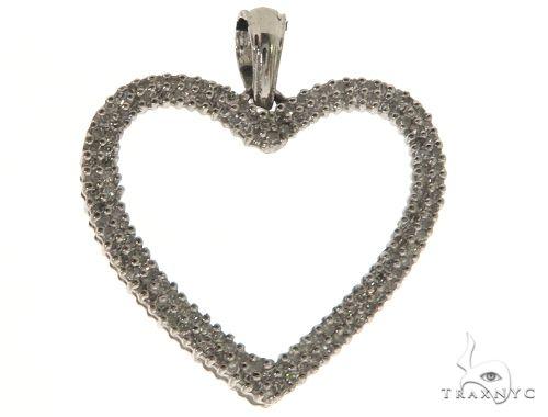 14K White Gold Micro Pave Diamond Heart Pendant. 63331 Stone