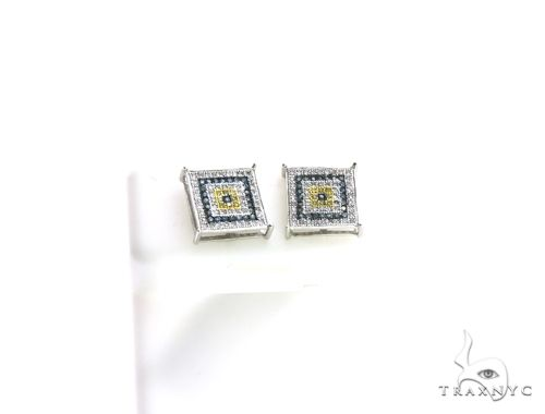 14K White Gold Micro Pave Diamond Square Stud Earrings. 63196 Stone