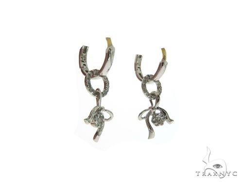 14K White Gold Micro Pave Diamond Stud Designer Earrings. 63398 Stone