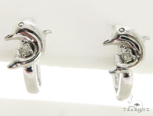 14K White Gold Micro Pave Diamond Stud Dolphin Earrings. 63288 Stone