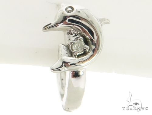 14K White Gold Micro Pave Diamond Stud Dolphin Earrings. 63288 Stone