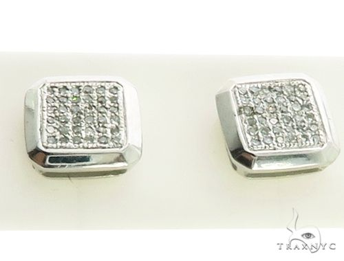 14K White Gold Micro Pave Diamond Stud Earriings. 63215 Stone