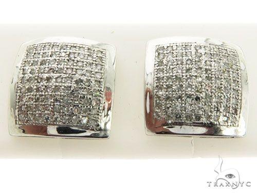 14K White Gold Micro Pave Diamond Stud Earrings 62609 Stone