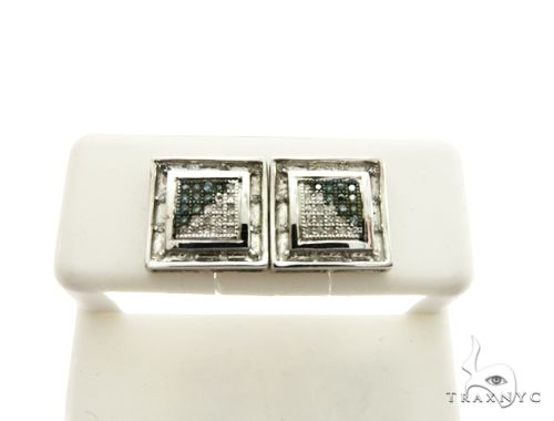 14K White Gold Micro Pave Diamond Stud Earrings 62621 Stone
