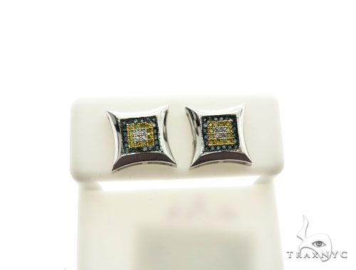 14K White Gold Micro Pave Diamond Stud Earrings 62631 Stone