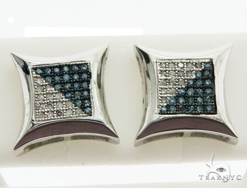 14K White Gold Micro Pave Diamond Stud Earrings 62632 Stone