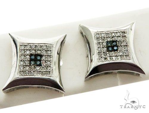 14K White Gold Micro Pave Diamond Stud Earrings Stone