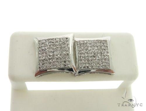 14K White Gold Micro Pave Diamond Stud Earrings 63004 Stone