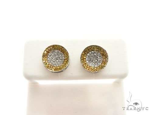 14K White Gold Micro Pave Diamond Stud Earrings 63018 Stone