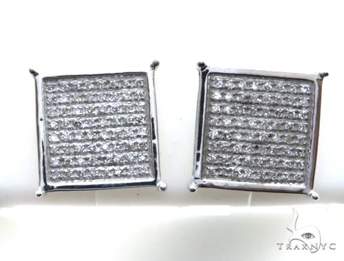 14K White Gold Micro Pave Diamond Stud Earrings 63142 Stone