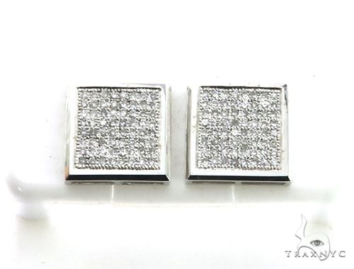 14K White Gold Micro Pave Diamond Stud Earrings 63191 Stone
