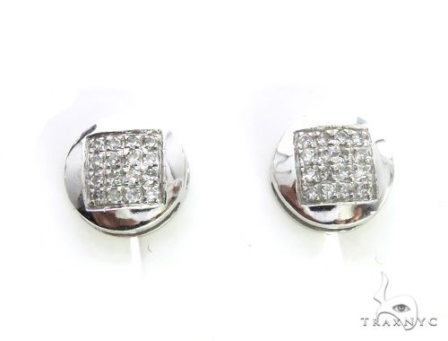 14K White Gold Micro Pave Diamond Stud Earrings 63501 Stone