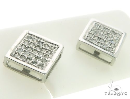 14K White Gold Micro Pave Diamond Stud Earrings. 63212 Stone