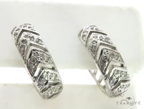 14K White Gold Micro Pave Diamond Stud Earrings. 63332 Stone