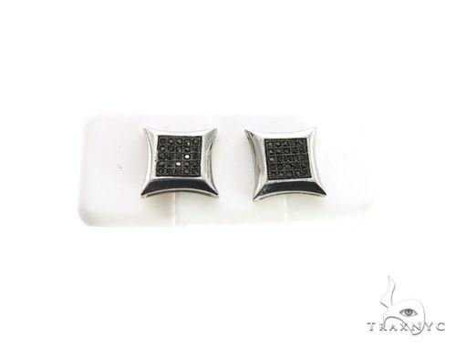 14K White Gold Micro Pave Diamond Stud Earrings. 63337 Stone