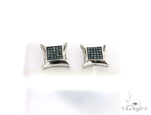 14K White Gold Micro Pave Diamond Stud Earrings. 63416 Stone