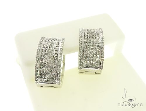 14K White Gold Micro Pave Diamond Stud Round Earrings. 63283 Stone