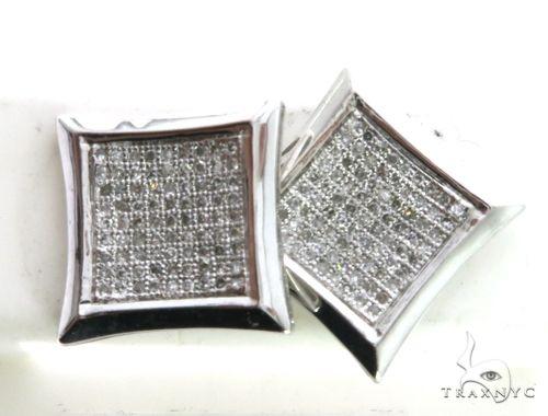 14K White Gold Micro Pave Diamond Stud XL Earrings. 63160 Stone