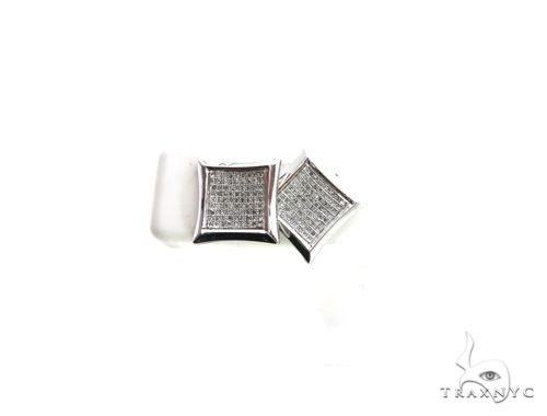 14K White Gold Micro Pave Diamond Stud XL Earrings. 63160 Stone
