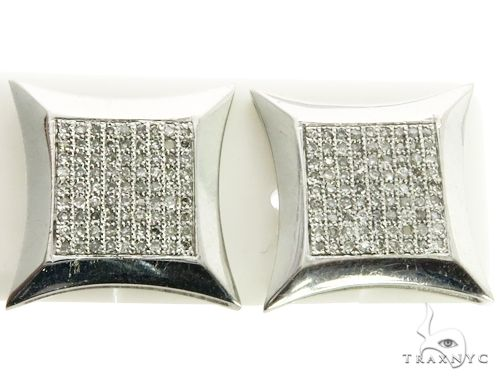 14K White Gold Micro Pave Diamond Stud XL Earrings. 63161 Stone