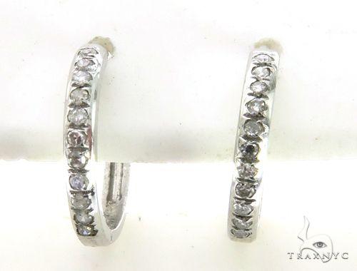 14K White Gold Micro Pave Round Diamond Earrings. 63341 Stone