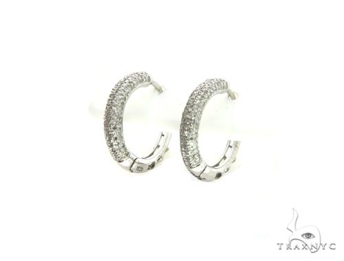14K White Gold Micro Pave Round Earrings. 63329 Stone