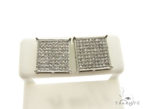 14K White Gold Micro Pave Square Stud Earrings 62604 Stone