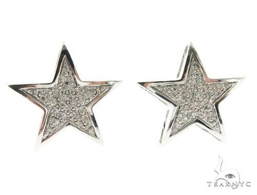 14K White Gold Micro Pave Star Stud Earrings 62599 63419 Stone