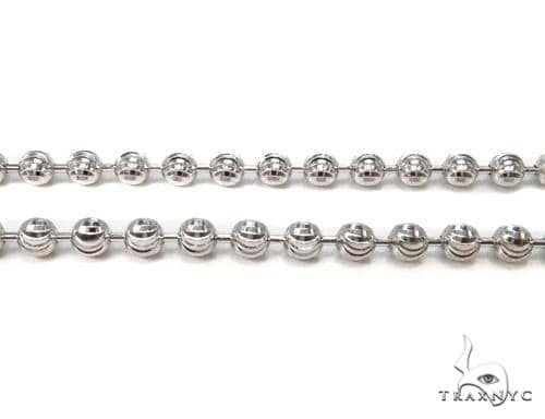 14K White Gold Moon Cut Link Chain 24 Inches 3.5mm 22.2 Grams 65892 Gold