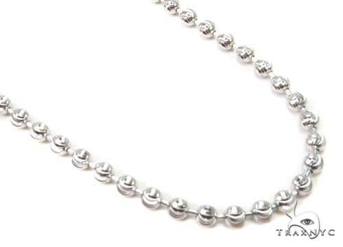 14K White Gold Moon Cut Link Chain 24 Inches 3mm 15.6 Grams 65890 Gold