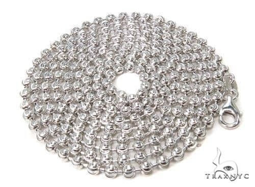 14K White Gold Moon Cut Link Chain 24 Inches 3mm 15.9 Grams 64801 Gold