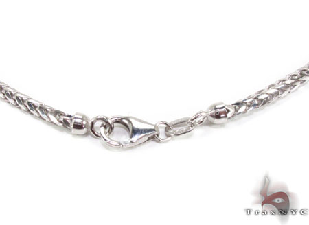 Silver 14K White Gold Plated Franco Chain 36 Inches, 2mm, 26.50 Grams 24730 Silver