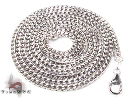 Silver 14K White Gold Plated Franco Chain 30 Inches, 2mm, 43.7 Grams Silver