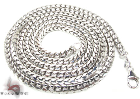 Silver 14K White Gold Plated Franco Chain 36 Inches, 4mm, 90.2 Grams Silver