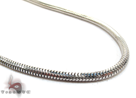 Silver White Gold Plated Snake Chain 36 Inches, 3mm, 26.7 Grams Silver