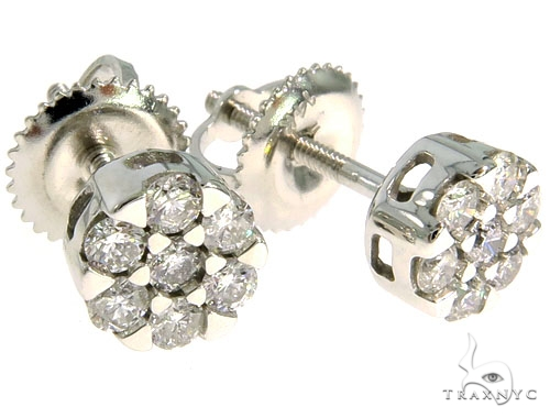 14K White Gold Prong Diamond Cluster Earrings 57044 Stone