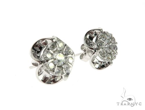14K White Gold Prong Diamond Cluster Earrings 63706 Stone
